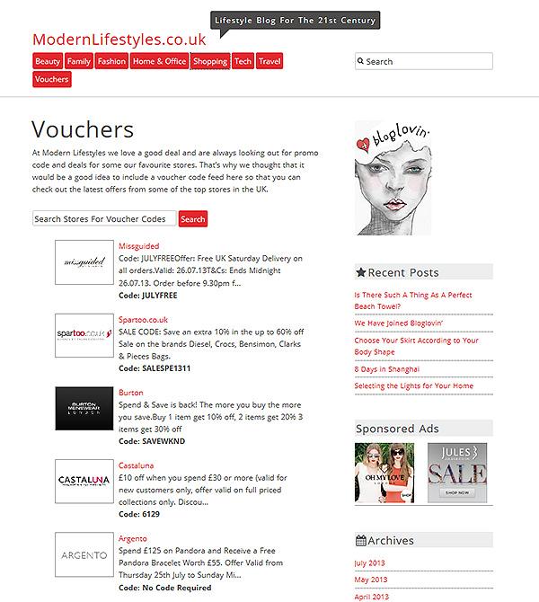 Voucher code feed
